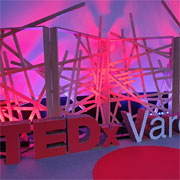 The TEDx Varese logo made of cardboard from Lessmore