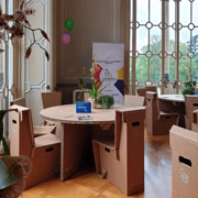 Cardboard tables and chairs from Lessmore Events Line GC001 Design Giorgio Caporaso