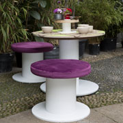 Bobina Table with Bobina Pouf Art Direction Giorgio Caporaso - Italy photo Daniela Berruti