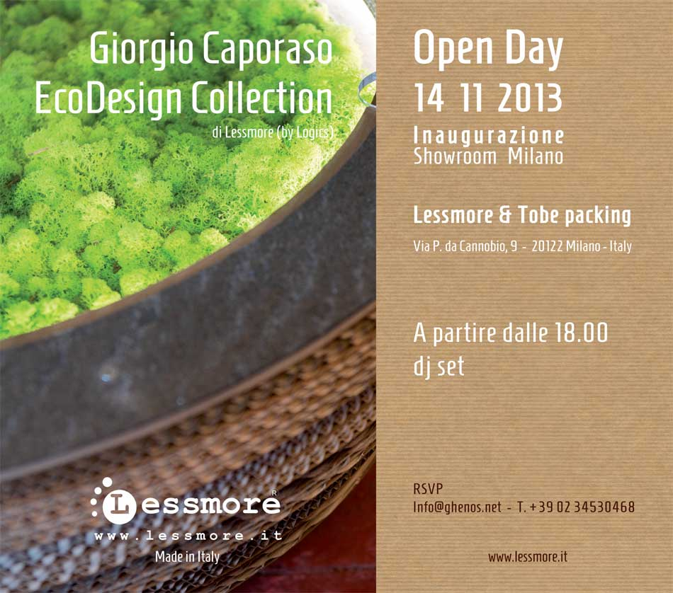 Invito OpenDay apertura Showroom Lessmore e tobe packing a Milano