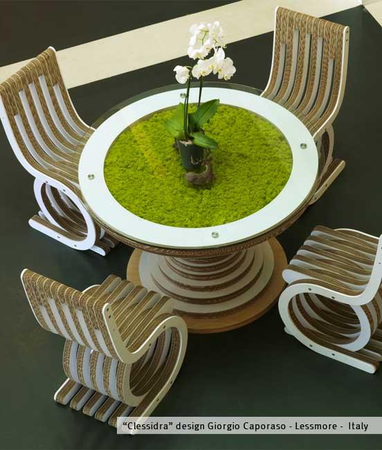 Clessidra con licheni tavolo in cartone by lessmore design giorgio caporaso - Clessidra da tavolo ...