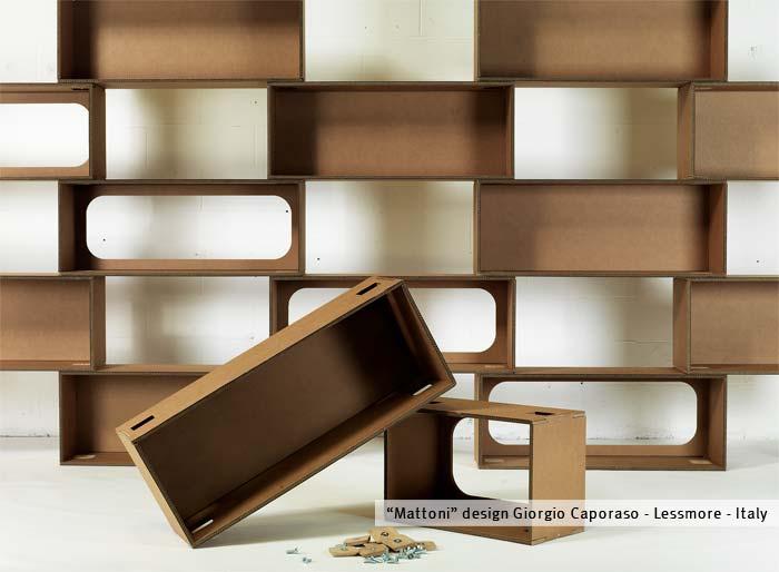 Mattoni - Libreria modulare in cartone by Lessmore - design Giorgio ...