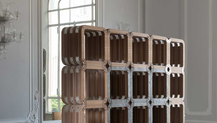 More-Lignt: cardboard bookcase with wood and stone finishes