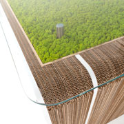 More Plus Desk - cardboard desk with moss by Giorgio Caporaso for Lessmore