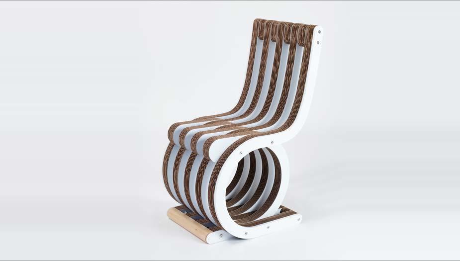 Sedie In Legno Laccate Bianco.Twist Chair Cardboard Chair By Lessmore Design Giorgio Caporaso