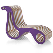 X2Chair: cardboard chaise longue with purple finishes. Design Giorgio Caporaso for Lessmore Italyo