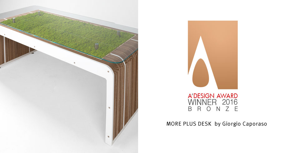 More Plus Desk con licheni premiato ad A'Design Award